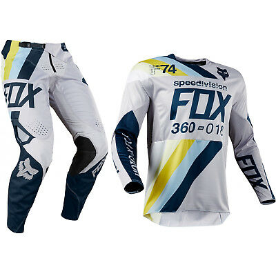 Fox Racing 360 Motocross MX Set Hose Trikot - Draftr Hell Grau