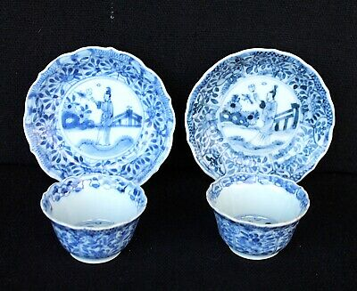 Two Kangxi tea bowls and saucers with a lady Chinese export