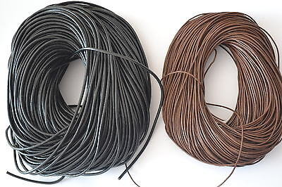 3M 5M Quality REAL LEATHER CORD THONG  1mm 1.5mm 2mm 3mm 4mm BLACK & BROWN