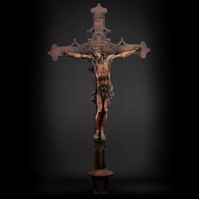 Crucifix Wall | Altar Wooden Cross Carved Church Jesus Christ 1800s Antique 43""
