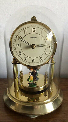 VINTAGE BENTIMA KERN 400 DAY BRASS ANNIVERSARY CLOCK + GLASS DOME. Working Order