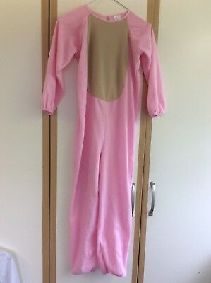 Child's Pink and Beige Pig Costume/Sleepsuit With Tail Approx Age 11-14