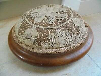 Victorian round walnut veneer footstool, padded top with lace, personal message