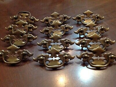 """Vintage Brass Colonial Batwing Drawer Furniture Pulls Set OF 12 x, 4 1/2"""" w"""