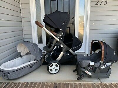 Stokke Crusi Double Single Stroller With Nuna Pipa Carseat & Bassinet Excellent