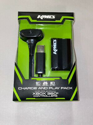 New Black Play and Charge Kit Microsoft Xbox 360 Cable & Battery