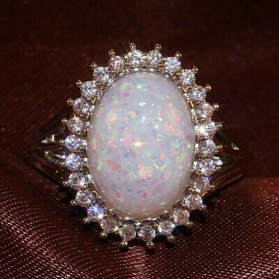 Gorgeous Wedding Rings for Women 925 Silver Oval Cut White Opal Ring Size 8