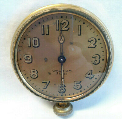 Vtg Antique Early 1900's Waltham 8 Day Clock Brass Auto Car Clock Untested