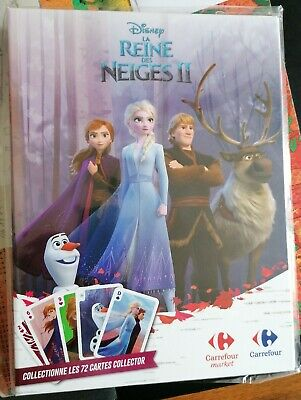 Classeur Reine des Neiges 2 complet - 72 cartes Disney Carrefour collector 2019