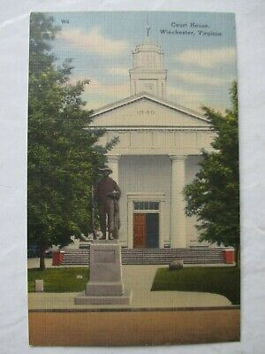 Vintage Postcard Soldiers Monument at Court House Winchester Virginia