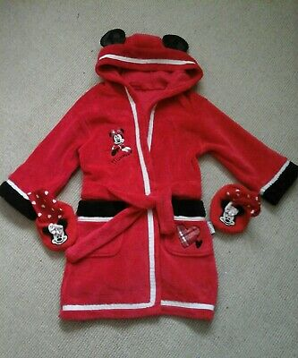 Disney Minnie Mouse dressing gown and slippers age 2-3 years