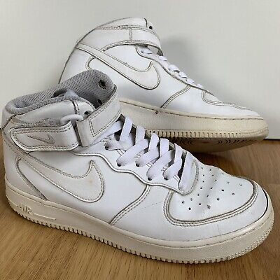 Nike Air Force 1 Mid White Leather Lace-up Sneakers Trainers 5.5/38.5