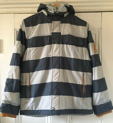Mini Boden Boys' Blue Grey Striped Hooded Insulated Ski Jacket 11-12 Years 152cm