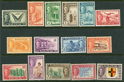 Sarawak 1950 definitives complete SG 171 to 185 MM
