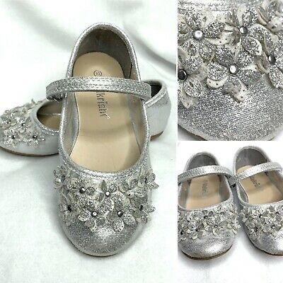 Girls Silver Sparkly Flower Detail Party Shoes Velcro Strap Size 10