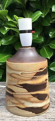 Old Vintage Retro MidCentury Modern Brown Tones Shelf Pottery Table Lamp Working