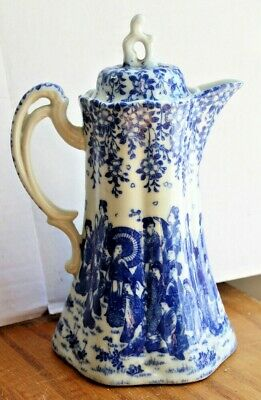 Antique Blue & White Pitcher Ewer with Lid Japanese Chinese Flowers People