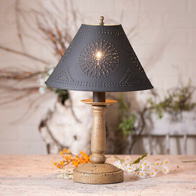 Butcher's Lamp in Americana Pearwood with Textured Black Tin Shade FREE SHIP