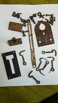 Antique old 1920 International Time Recording Clock Parts lock latch hanger scre