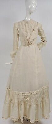 Victorian Turn Of The Century Cashmere Dress W Pleating