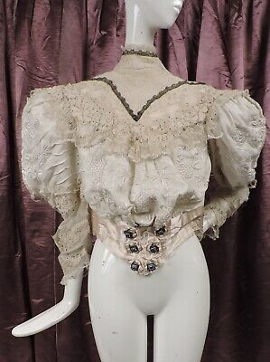Romantic Victorian Canton Silk Embroidered Bodice For Dress W Blue Jewel Buttons