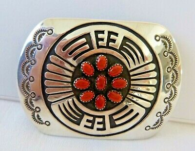 NEW Navajo Rosco Scott Sterling Silver Belt Buckle Red Coral Overlay Design