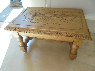 Victorian style solid oak carved top footstool, bench, stool, flower carving