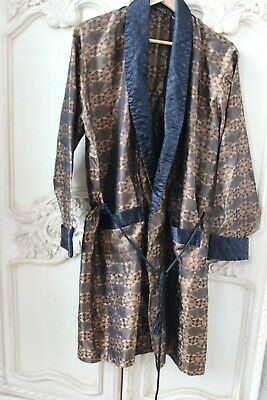 Vintage 1960's silky men's Dressing Gown Robe smoking jacket size Large