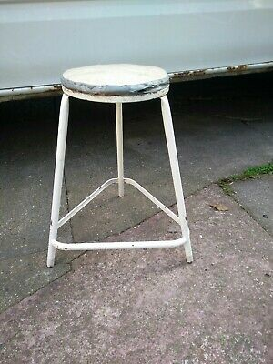 Vintage Retro Industrial Padded Machinist Stool.