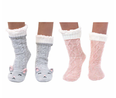 Jane And Bleecker Womens Chunky Slipper Socks 2-Pack Pair Cat Pink Grey NWT