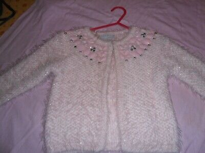 Girls Pink Fluffy Sparkly Cardigan 3-4 yrs