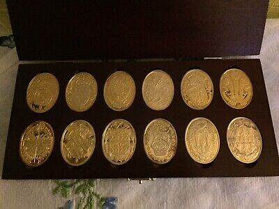 Arms of Prince & Princess of Wales Gold-plated Silver 12x Ingot Set Cased COA