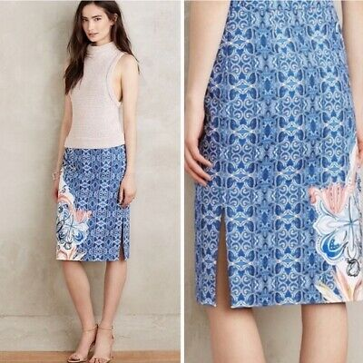 NEW Anthropologie Becancour Pencil Skirt Blue Floral Size 6 /& 12