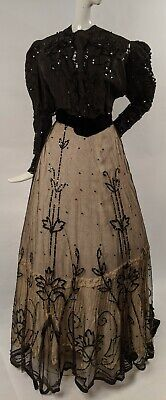 Victorian 19Th C Shimmering Sequin On Net Dress W  Train