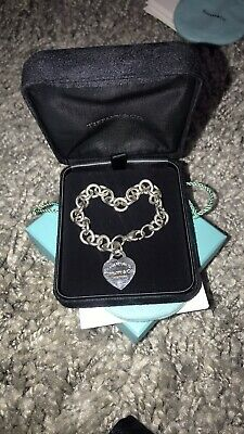 """Sterling Silver - TIFFANY & CO. Heart Tag Charm 7.5"""" Chain Link Bracelet - 36.5g"""