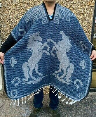 Mexican Poncho , Horse  , Blanket Sarape Gaban ,One Size, Blue Gray