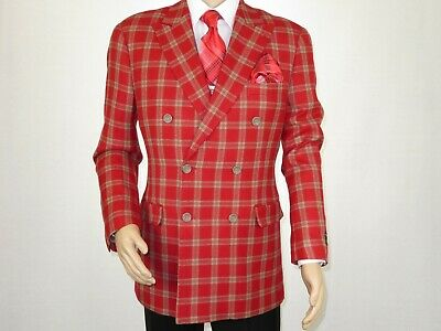 Mens sport Coat APOLLO KING Plaid 100% Thick Wool Double Breasted DS-4 Red Beige