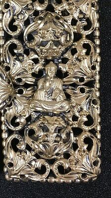 Antique Vtg Chinese Buddha Gold Tone Clasp Salvage Filigree Crafters Metal A8