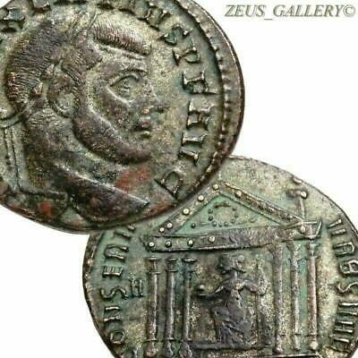 Maxentius, ROMA seated in TEMPLE. Rome mint Silvered Follis Ancient Roman Coin