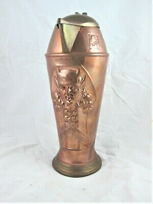 Arts & Crafts Copper & Brass Lidded Jug With Devils Face C1890'S