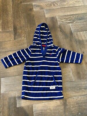 Boys Joules Blue And White Striped Towelling Beach Hoodie Age 2 VGC