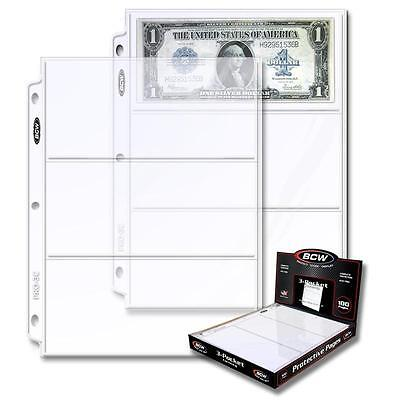 20 loose BCW 3 Pocket Album Pages Large Currency Dollar Bill Sheets Holders