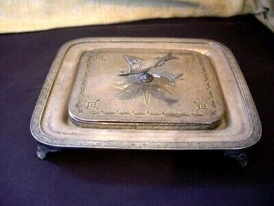 Antique Victorian Silver Plated, Glass Sardine Dish with Engraved Lid & Fish
