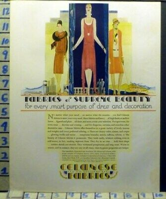 1928 Deco Celanese Fabric Dress Flapper Style Fashion Vintage Art Ad  At29