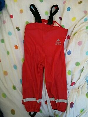 Frugi Red Puddle Buster Waterproof Trousers / Dungarees Age 3-4 Years boys girls