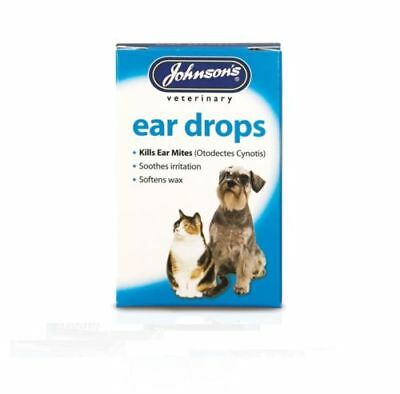 Johnsons Ear Drops for Cats & Dogs Kills Ear Mites - Softens Wax 15ml