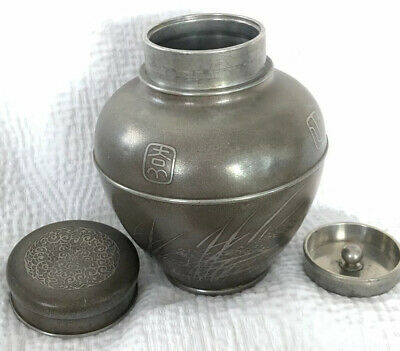 Antique Chinese Pewter Oval Tea Caddy Birds Grasses Clouds Stamp Kuthing Swatow