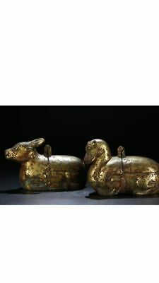 A Superb Pair Of Han Dynasty Bronze Gilt Lamps