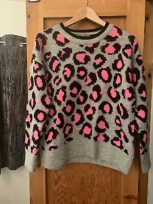 Next Neon Pink Grey Leopard Print Jumper Size Small