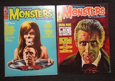 1971/74 FAMOUS MONSTERS Horror Magazine LOT of 2 #86 FN+ #105 FN Christopher Lee